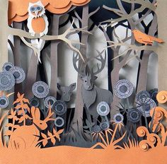 Woodland Animals by Helen Musselwhite – Origami Architecture 3d Paper Art, 3d Paper Crafts, Cardboard Art, Paper Artwork, Paper Artist, Diy Paper, Arts And Crafts, Paper Cutting, Papercut Art