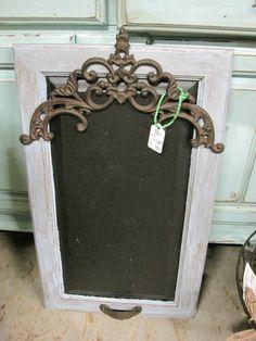 Old metal on repurposed door...dressed up chalk board...I love this!