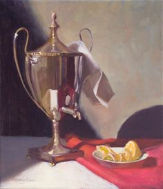 """""""The Georgian Silver Urn"""" 12""""x14"""" oil on linen by Beverly Brown"""