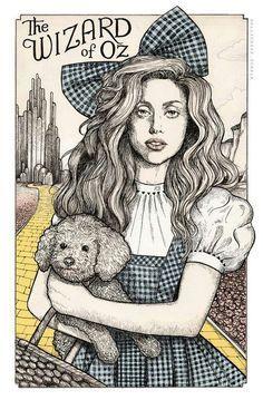 """""""Lady Gaga The Wizard of Oz"""" Art by Helen Green✏ #Celebrity #Celebrities #FanArt"""
