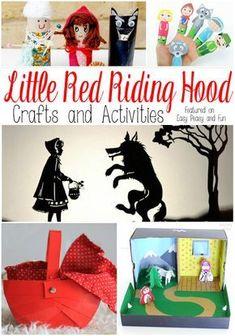 Little Red Riding Hood Crafts and Activities - Easy Peasy and Fun * Červená Čiapočka Fairy Tale Crafts, Fairy Tale Theme, Traditional Tales, Traditional Stories, Craft Activities, Preschool Crafts, Fun Crafts, Evergreen Fairy Tail, Little Red Hood