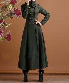 Long+navy+green+cashmere+dress+coat+big+sweep+by+fashionwomanstore,+$139.99