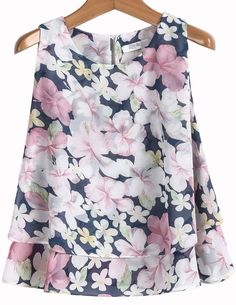 To find out about the Pink Sleeveless Floral Loose Chiffon Blouse at SHEIN, part of our latest Blouses ready to shop online today! Cute Blouses, Blouses For Women, Modest Dresses Casual, Stylish Outfits, Fashion Outfits, Chiffon Blouses, Couture Tops, Trendy Tops, Pulls