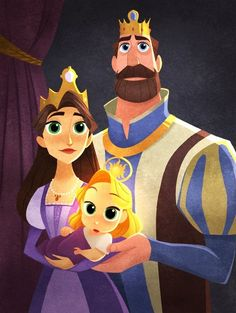 Queen Ariana King Frederic and Princess Rapunzel pf Corona Disney Rapunzel, Princess Rapunzel, Sailor Princess, Disney And Dreamworks, Disney Pixar, Walt Disney, Disney Animation, Disney Channel, Rapunzel And Eugene