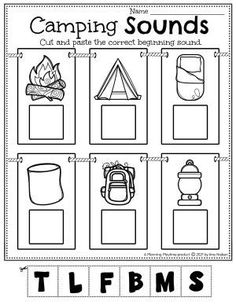 Practice Early Reading skills by recognizing Beginning Sounds. - Pre-k Camping Worksheets