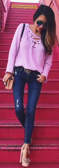 #spring #outfits /  Pink Laced Up Knit / Ripped Skinny Jeans