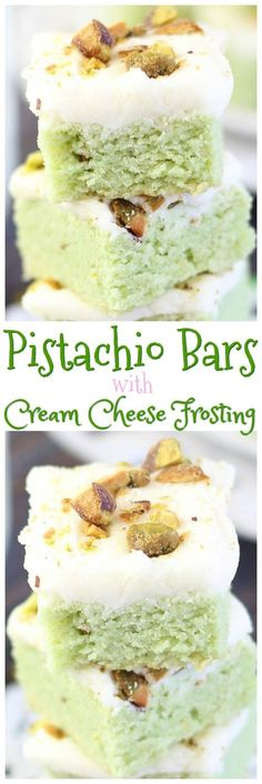 Pistachio Sugar Cookie Bars with Cream Cheese Frosting! Brownie Cookies, Bar Cookies, Baking Cookies, Brownie Desserts, No Bake Desserts, Delicious Desserts, Baking Desserts, Mini Desserts, Fall Desserts