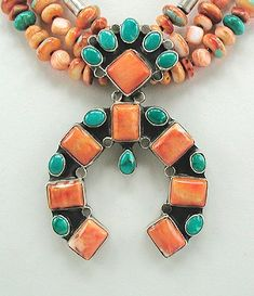 Navajo Spiny Oyster and Turquoise Naja   with Triple Strand Necklace