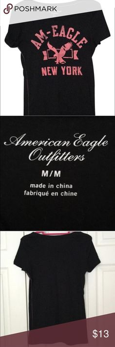 American Eagle Black Graphic Tee American Eagle Black Graphic Tee. Size medium. Great condition! American Eagle Outfitters Tops Tees - Short Sleeve