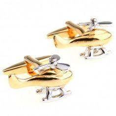 #Helicopter in #gold #Transportation #Cufflinks #cufflinkspalace