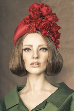Rachel Trevor Morgan, A/W 2013 - Red silk taffeta headpiece with hand made roses. #passion4hats