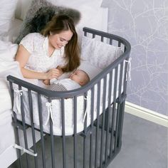 The modern gray babybay® Bedside Sleeper is a bedside co-sleeper that leaves parents and child well rested Co Sleeper Bassinet, Baby Co Sleeper, Baby Bassinet, Bedside Crib Co Sleeper, Colecho Ideas, Neutral Baby Colors, Neutral Baby Bedding, Newborn Bed, Baby Crib Mattress