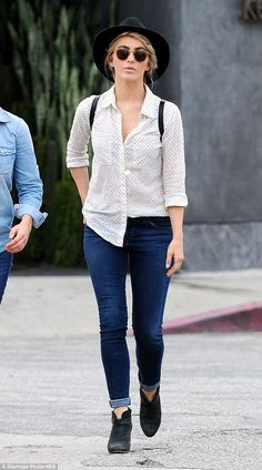 Denim parade: Julianne Hough stepped out in style in flattering skinny jeans and a loose white shirt in Los Angeles on Thursday