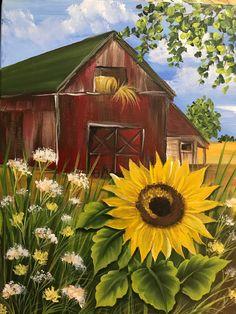Sunflower Barn Course Video – Dewberry U Sunflower Canvas Paintings, Simple Acrylic Paintings, Acrylic Art, Canvas Art, Paintings Of Sunflowers, Fall Canvas Painting, Growing Sunflowers, Summer Painting, Diy Painting