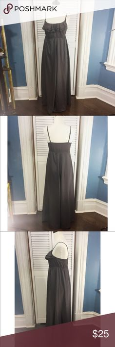 """attention Spaghetti Strap Maxi Gray Dress Size XS Beautiful long dress. Spaghetti straps. Size XS. No lining. Elastic back and waist. Material: 100% polyester. Approximate measurements (measured flat): bust: 13.5"""", waist: 11"""", length: 52"""". Excellent used condition. No signs of wear. attention Dresses Maxi"""