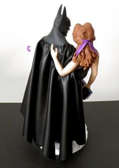 #Batman #Arkham #Disney #Belle Custom Wedding Cake Topper by Sophie Cartier Sculpture. Custom concept completed with a #HarryPotter book in the bride's hand.