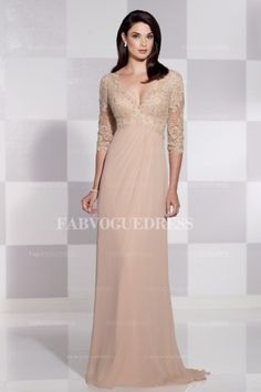 Sheath/Column V-neck Sweep/Brush Train Chiffon Mother of the Bride Dress