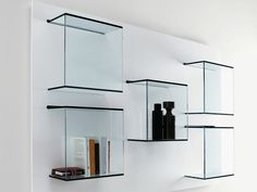 Wall-mounted glass bookcase DAZIBAO by T.D. Tonelli Design design EG AV