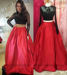 Two-piece Prom Dress,Black lace Prom Dresses,Red Formal Dresses,Long Sleeves Party Dresses,Two Pieces Graduation Dress