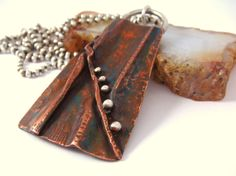 Opening Act - Copper and Silver Fold Formed Necklace - Mixed Metals - Sterling Silver - Handmade Jewelry Mixed Metal Jewelry, Copper Jewelry, Leather Jewelry, Pendant Jewelry, Jewelry Art, Jewelry Design, Jewelry Ideas, Fashion Jewelry, Silver Wedding Jewelry