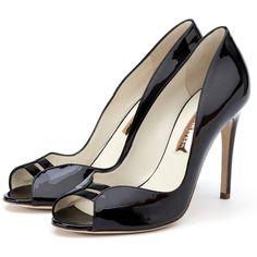 Rupert Sanderson Black Patent Peep Toe High Heels (720 CAD) found on Polyvore