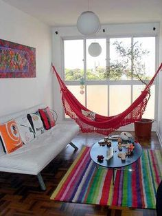 Rede na sala Life is a Hammock Interior Design Living Room, Living Room Decor, Bedroom Decor, Living Room Hammock, Living Rooms, Interior Decorating, Indoor Hammock, Indoor Swing, Home And Deco
