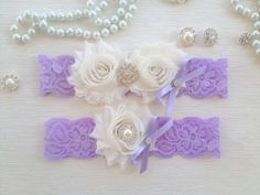 wedding garter lavender/ivory bridal garter lavender by venusshop, $19.90
