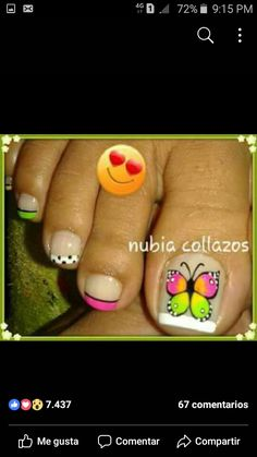 Fingernail Designs, Toe Nail Designs, Nail Polish Designs, Simple Nail Designs, Pretty Toe Nails, Cute Toe Nails, Pedicure Designs, Pedicure Nail Art, Toe Nail Color