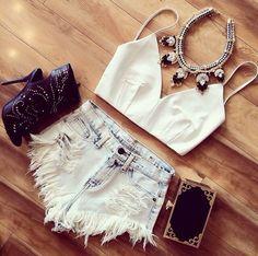 White Zipper Back Spaghetti Strap Crop Top #choies #white #fashion