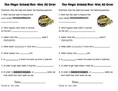 magic school bus wet all over water cycle worksheets comprehension the magic and buses. Black Bedroom Furniture Sets. Home Design Ideas