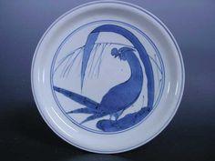 藍九谷 鶏葉紋七寸皿 誉銘