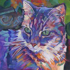 KMSchmidt ORIGINAL Oil Painting 6x6 fauve impressionist craftsman TABBY CAT art #Postimpressionism