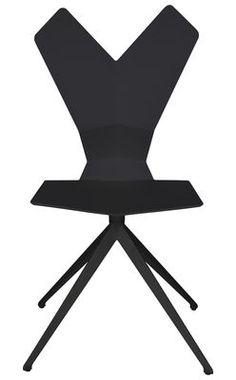Chaise Y / Assise plastique & pieds métal Coque noire - piètement noir - Tom Dixon