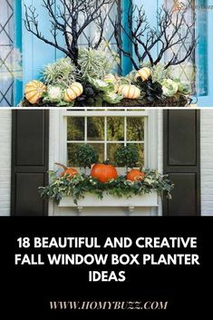 18 Beautiful and Creative Fall Window Box Planter Ideas - HomyBuzz Decor, Fall Window Boxes, Window Planter Boxes, Rock Decor, Windows, Fall Windows, Box, Buy Compost, Outdoor Decor