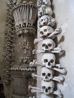 "Gothic Charm School: pretty things • Via maire-annatari: ""The Sedlec Ossuary is a small Gothic church in the Czech Republic.  It is adorned with the bones of some 40,000 people (some say up to 70,000), most of them victims of the Black Death."""