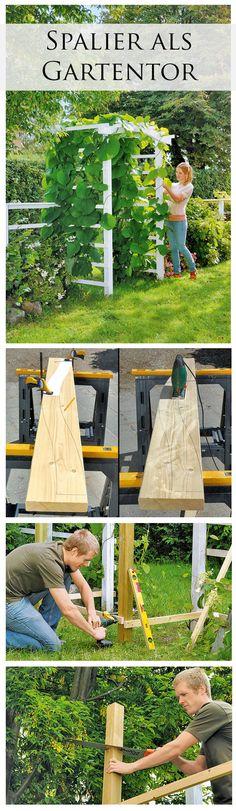 Gartentor mal anders: Auch ein Spalier kann man als Eingang für seinen Garten nutzen. Umrankt mit Pflanzen gibt es dem Garten einen romantischen Touch. Wir zeigen, wie du das Spalier-Gartentor selbst bauen kannst.