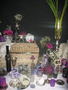 Eclectic vintage chic mix purple white silver and black theme vintage chic romantic purple silver white and black wedding centrepiece decor hire junglespirit Choice Image