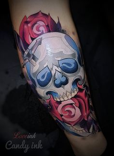 #neo #traditional #skull #roses #dagger #dark #blue #red #tattoo