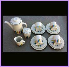 1950s - 1960s Mid Century Porcelain Child's Toy Tea Seat MIB at Toinette's on Ruby Lane