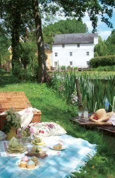Summer picnic in a country garden