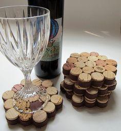 Waben Wein Korken Coaster mit braunen Ribbon-Set von vier - Housewarming, Hochzeit, Hostess Geschenk, unterhaltsam, Eco-Friendly