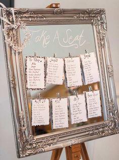 plan de table mariage vintage chic en miroir avec cadre argenté richement orné