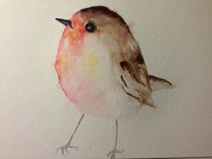 #watercolor #bird #robin #rougegorge Strongly inspired by (sorry I forgot the name of the artist...) Myriam Jacquet