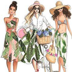 Palm queens shop them all at hnillustration.etsy.com #etsy #fashionart #fashionsketch #bostonillustrator #copicmarkers #copicart #bostonblogger #palmleaves #hnicholsillustration #fashionillustration