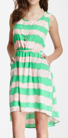 Peach Love Cream California Sleeveless Print Hi-Lo Dress
