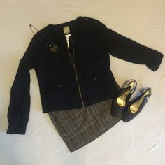 Halogen jacket Cute light weight collarless zip up jacket. 4 pockets on front and sleeves can be buttoned up. Halogen Jackets & Coats