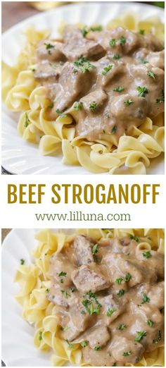 This delicious Beef Stroganoff recipe is simple and flavorful. Served with egg noodles, this creamy stroganoff is a classic Sunday dinner recipe or perfect to enjoy any night of the week. #beefstroganoff #stroganoff #stroganoff #beef