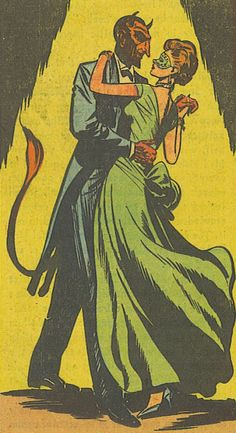"mykillyvalentine:Dancing with the Devil.""The Masquerade!"" Black Magic #34 (Sept.-Oct. 1957)"