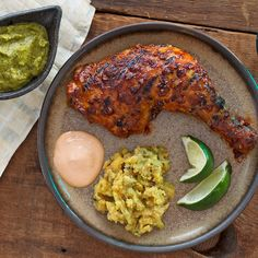 Peruvian spit-roasted chicken, or Pollo a la Brasa, is an iconic South American dish, and this grilled version delivers flavorful, tender and juicy chicken everytime. The two accompanying sauces andmdash; featuring ají amarillo and ají rocoto chilies — offer hot and tangy counterpoints.