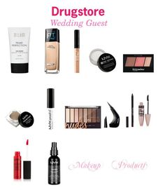 """""""Drugstore wedding guest makeup"""" by shivana-354 on Polyvore featuring beauty, Maybelline, NYX and New Look"""